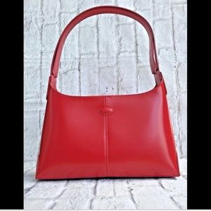TOD's Red Leather Handbag Satchel Medium